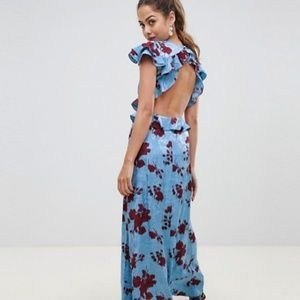 ASOS DESIGN floral print satin jacquard maxi dress